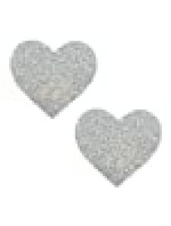 Neva Nude Silver Pixie Dust Glitter I Heart U Nipztix Pasties Nipple Covers for Festivals, Raves, Parties, Lingerie and More, Medical Grade Adhesive, Waterproof and Sweatproof, Made in USA