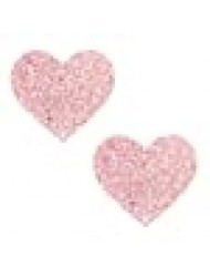 Neva Nude Powder Puff Pastel Pink Glitter I Heart U Nipztix Pasties Nipple Covers for Festivals, Raves, Parties, Lingerie and More, Medical Grade Adhesive, Waterproof and Sweatproof, Made in USA