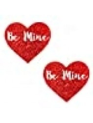 Neva Nude Be Mine Valentines Day Red Glitter Heart Nipztix Pasties Nipple Covers for Festivals, Raves, Parties, Lingerie & More, Medical Grade Adhesive, Waterproof Sweatproof, Made in USA