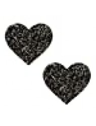 Neva Nude Super Sparkle Tinsel Town Black Heart Glitter Nipztix Pasties Nipple Covers for Festivals, Raves, Parties, Lingerie and More, Medical Grade Adhesive, Waterproof and Sweatproof, Made in USA