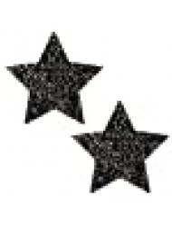 Neva Nude Super Sparkle Tinsel Town Black Star Glitter Nipztix Pasties Nipple Covers for Festivals, Raves, Parties, Lingerie and More, Medical Grade Adhesive, Waterproof and Sweatproof, Made in USA