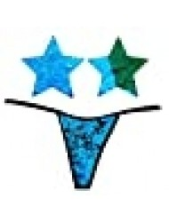 Neva Nude Naughty Knix Seahawks Flip Sequin G-String Thong with Matching Nipztix Pasties Blue Green