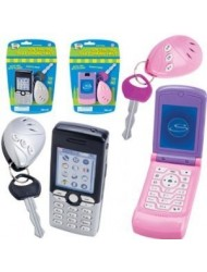Great Kids Toy! Lets Go Set: Play Flip Cell Phone and Key Alarm - (Two assorted styles: Silver and Pink,).