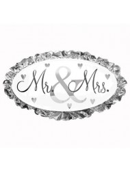 "Mr. & Mrs. Oval Shaped 32"" Silver and White Mylar Balloon"