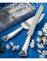 Interlocking hearts design cake knife/server set- 1