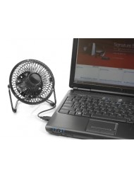 TechTools RF-0410BLK Retro Desktop Fan with USB Cord, Black