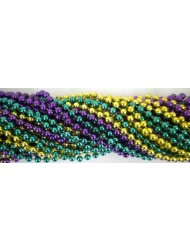 Round Metallic 3 Color Mardi Gras Beads - 6DZ (72 necklaces)