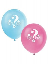 Gender Reveal 8 Count Latex Balloons, 12-Inch, Blue and Pink