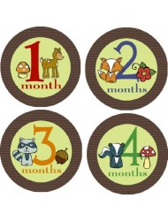 Woodland Creatures Monthly Baby Bodysuit Stickers