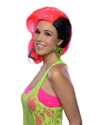 Rubie's Costume Rave Punk Wig, Neon Pink/Black, One Size