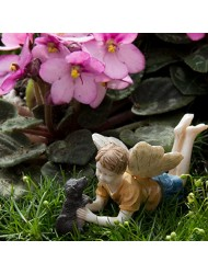 Miniature Fairy Garden Limited Edition Boy Fairy With Dog Ross and Winston