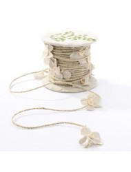 Darice Natural Jute Ribbon with Decorative Button Center Flower Embellishments