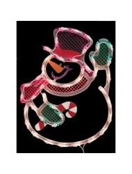 Impact Innovations Christmas Lighted Window Decoration, Waving Snowman