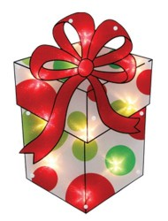 Impact Innovations Christmas Shimmer Lighted Window Decoration, Present