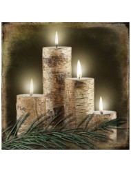 Radiance Lighted Birch Candle Canvas Wall Art - Lodge Collection