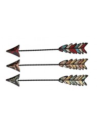 "Set of 3 Colorful Rustic Western Arrows Distressed Wall Art - 12"" Long"