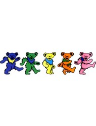 """Grateful Dead-5Jerry Bears On Clear Background -9.5"""" X 2.5""""Sticker / Decal"""