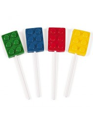 Fun Express Brick Building Block Party Candy Lollipop Suckers Dozen