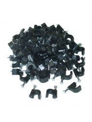 CableWholesales RG6 Cable Clip, Black (100 pc per bag)