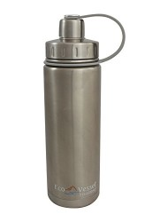 EcoVessel BOULDER TriMax Dual Opening Insulated Stainless Steel Water Bottle with Tea - Fruit and Ice Strainer - 24 Ounces - Silver Express