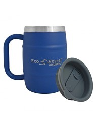 EcoVessel DOUBLE BARREL Double Wall Insulated Stainless Steel Beer and Coffee Mug with Lid - 16 ounces - Hudson Blue