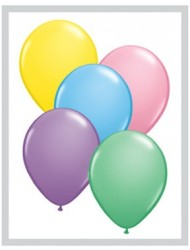 """Qualatex 5"""" Round Balloons, Pastel Assortment - Pack of 100"""