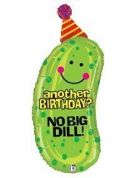 "No Big Dill Pickle Shaped 37"" Birthday Mylar Balloon"