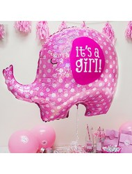 "It's A Girl Pink Elephant Baby Shower Party 32"" Foil Balloon"