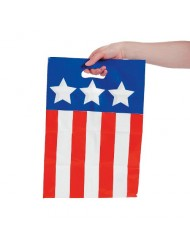 Fun Express 50 Plastic Patriotic Bags - Red, White and Blue - 4th of July Independance Day
