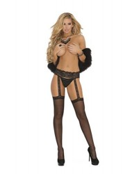 Sheer Thigh Highs w/Attached Lace Garterbelt Black O/S