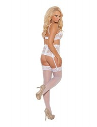 Elegant Moments Sheer Lace Top Thigh Hi, White