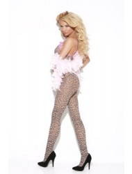 Elegant Moments Women's Print Body Stocking With Satin Bows And Open Crotch, Leopard, One Size