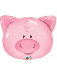 "Playful Smiling Piggy Farm Animals 30"" Balloon Mylar"