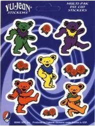 Grateful Dead - Dancing Bears and Roses - Multi-Pak of 9 Stickers / Decals