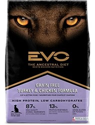Evo Grain Free Turkey and Chicken Formula Cat and Kitten Food 2.2 Pounds, 1 Piece