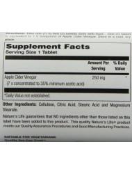 Nature's Life Apple Cider Vinegar, 250 Mg, 35 % Acetic Acid,  250 Tablets