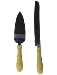 Fashioncraft 2472 Golden Elegance Collection Cake Server & Knife Set