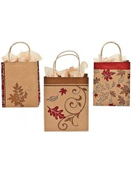 "Fall Kraft Paper Bags (12 Pack) 9""h X 7 1/4""w X 3 1/2""d with 4""h Jute Handles. Paper."