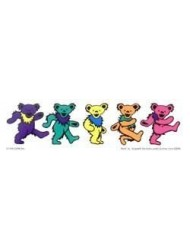 "Grateful Dead - 5 Jerry Bears On Clear Background  - 9.5"" X 2.5"" Sticker / Decal"