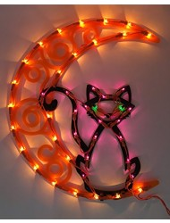 Impact Innovations Halloween Lighted Ornamental Silhouette 14x17 - Cat on Moon