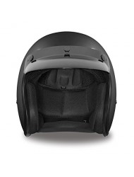 Daytona Helmets Cruiser Slim Line 3/4 Shell Helmets (Dull Black, Large) with Head Wrap and Draw String Bag