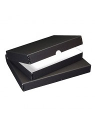 "Lineco 11x14"" Clamshell Folio Storage Box, 1.75"" Deep, Metal Edge Archival Boxboard, Removable Lid, Color: Black"
