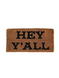 "32""L x 16""W Natural Coir ""Hey Y'all"" Doormat"