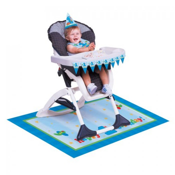 fun at one happy first birthday boy high chair kit be the first to ...