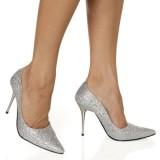 The Highest Heel Women's GLITZEE Woven Glitter Silver Woven Glitter Pump 9 B(M) US