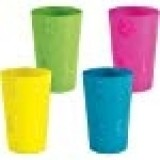 Plastic Bamboo & Hibiscus Tumblers (asstd colors) Party Accessory  (1 count)