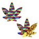 Neva Nude FunFetti Multicolor Flip Sequin Weed Leaf Nipztix Pasties Nipple Covers