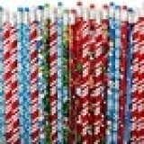 """Rhode Island Novelty Lot of 144 Assorted Christmas Holiday Theme Wooden Pencils - 7.5"""""""