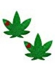 Neva Nude Glorious Green Glitter Weed Leaf Nipztix Pasties Nipple Covers