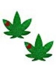 Neva Nude Glorious Green Glitter Weed Leaf Nipztix Pasties Nipple Covers